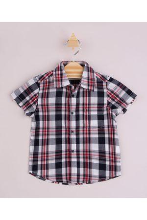 Baby Club Camisa Infantil Estampada Xadrez com Bolso Manga Curta Vermelha