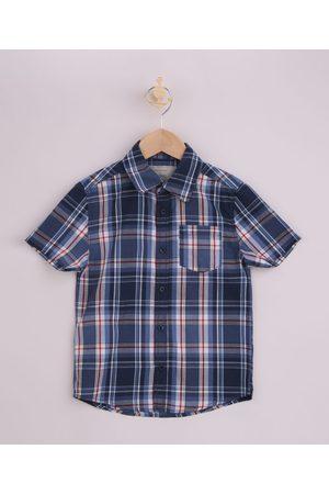 PALOMINO Menino Camisa Manga Curta - Camisa Infantil Estampada Xadrez Manga Curta Azul