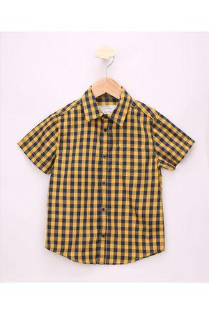 PALOMINO Menino Camisa Manga Curta - Camisa Infantil Estampada Xadrez com Bolso Manga Curta Amarelo