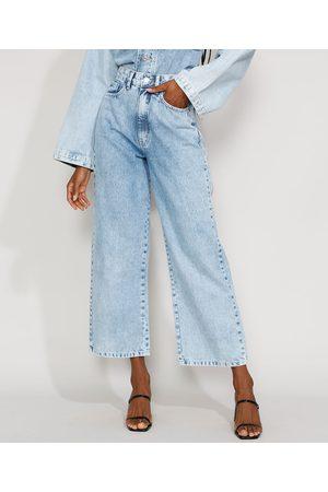 Mindse7 Mulher Cintura Alta - Calça Jeans Feminina Mindset Wide Reta Cintura Super Alta Marmorizada Claro