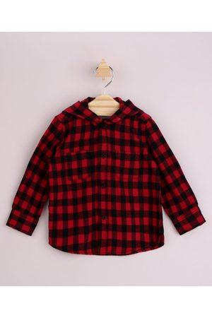 BABY CLUB Menino Camisa Manga Comprida - Camisa Infantil Estampada Xadrez com Bolso Manga Longa e Capuz Vermelha