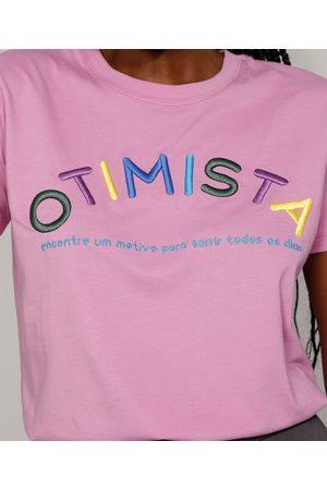 """Mindse7 Mulher Camiseta - T-Shirt Feminina Mindset com Bordado Otimista"""" Manga Curta Decote Redondo """""""