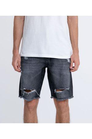 Blue Steel Bermuda Jeans Slim com Rasgos | | | 42