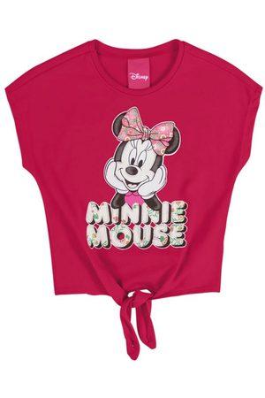 Disney Menina Manga Curta - Blusa Infantil Estampada com Glitter