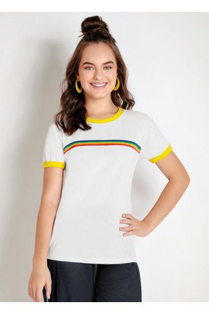 MODA POP Blusa Juvenil Branca com Detalhe Colorido