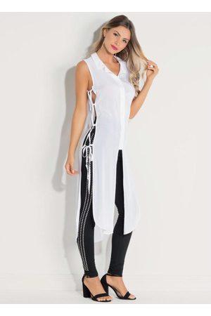 QUINTESS Mulher Camisa Formal - Camisa Alongada com Fendas Laterais Branca