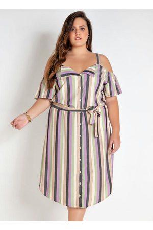 Mink Mulher Vestido Estampado - Vestido Plus Size Listrado com Fio Metalizado