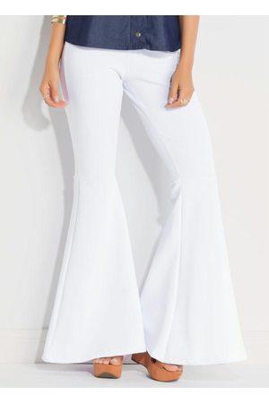 QUINTESS Mulher Calça Flare - Calça Flare Branca Cintura Alta
