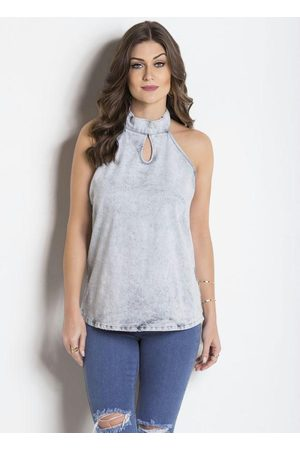 Janine Mulher Blusa - Blusa Frente Única Jeans Claro
