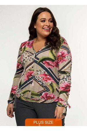 Secret Glam Mulher Camisa Casual - Camisa Feminina Botões Estampa Floral