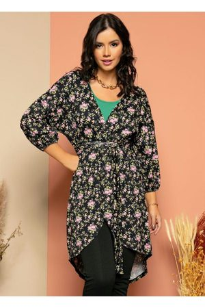 QUINTESS Mulher Quimono - Kimono Floral Alongado com Faixa Fixa