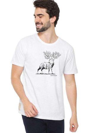 Eco Canyon Homem Manga Curta - Camiseta Masculina Cervo Branca White