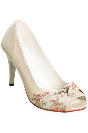 QUEIMA ESTOQUE Mulher Scarpim & Peep toe - Peep Toe /Floral com Detalhe Entrelaçado