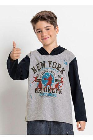 QUEIMA ESTOQUE Menino Manga Curta - Camiseta Infantil Mescla e Preta com Capuz