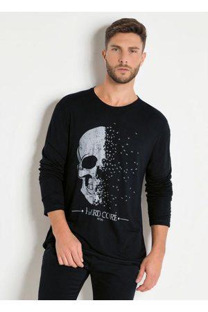 Actual Homem Camisolas de Manga Curta - Camiseta Preta At M/L com Estampa Caveira