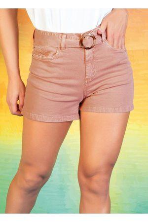 Sawary Jeans Short Rosê Hot Pants com Cinto Grátis Sawary