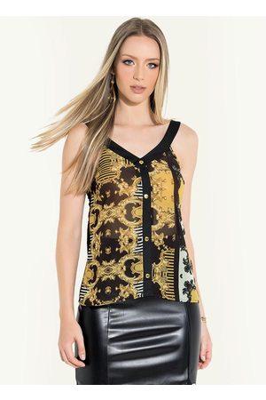 QUINTESS Mulher Blusa - Blusa de Alças com Recorte Barroca