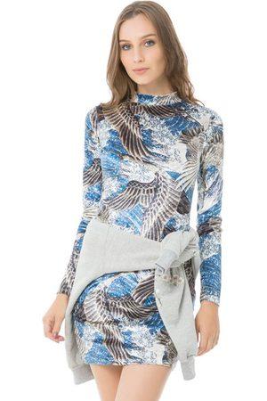 LEZ A LEZ Mulher Vestidos - Vestido Malha Veludo Molhado Ondas Orientais