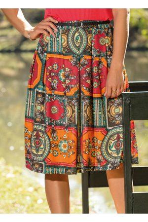 QUEIMA ESTOQUE Mulher Saia Estampada - Saia Midi Estampa Mandalas Moda Evangélica