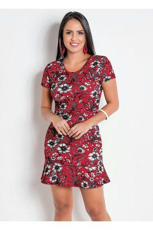 QUEIMA ESTOQUE Mulher Vestido Estampado - Vestido Peplum Floral Decote Costas Profundo