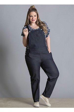Quintess Mulher Macacão - Jardineira Jeans Escuro com Bolsos