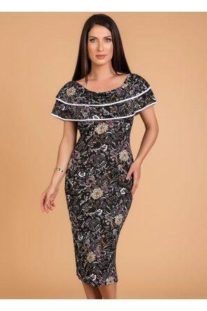 ROSALIE Mulher Vestido Estampado - Vestido com Babados Floral Moda Evangélica