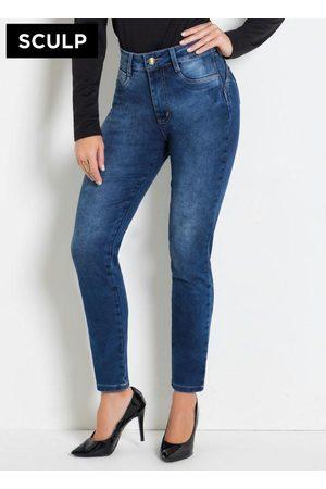 Sawary Jeans Mulher Modeladoras & Cintas - Calça Sculp Jeans Cigarrete com Cinta e Bumbum