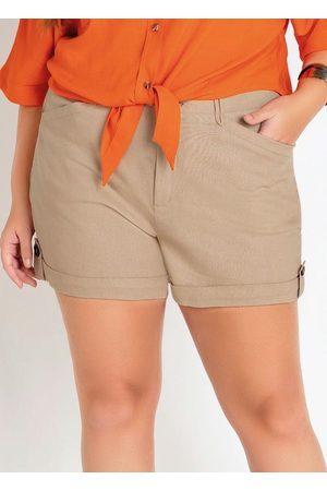 Mink Mulher Short - Shorts Plus Size com Passantes e Bolsos