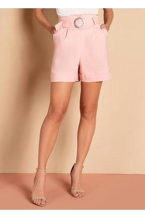 QUINTESS Mulher Short - Short Rosê com Bolsos e Faixa com Fivela
