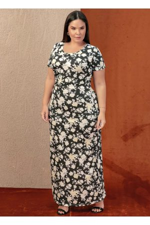 Marguerite Mulher Vestido Estampado - Vestido Longo Estampa Margaridas Plus Size