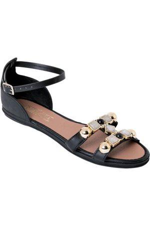 QUEIMA ESTOQUE Mulher Sandálias - Rasteirinha Preta com Decoração Dourada