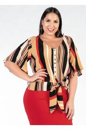 Mink Mulher Camisa Casual - Camisa Plus Size Listrada com Amarração