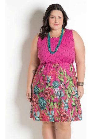 Marguerite Vestido Estampa Barrada Plus Size Floral