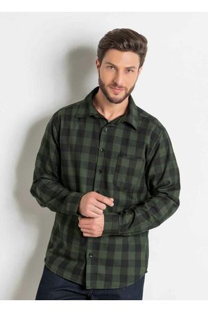 Actual Homem Camisa Casual - Camisa Xadrez em Flanela