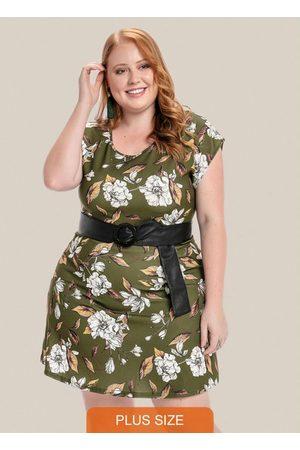 Vinculo Basic Mulher Vestidos - Vestido Plus Size com Decote Redondo