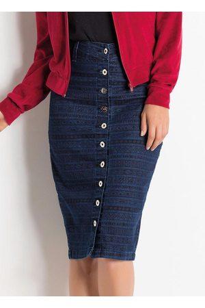 ROSALIE Mulher Saia Midi - Saia com Botões Jeans Étnica Moda Evangélica