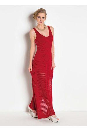 Janine Mulher Vestido Longo - Vestido Longo Tricê com Fenda Vermelha