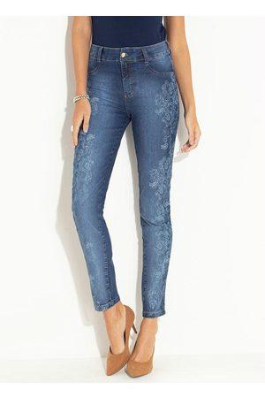 QUINTESS Calça Jeans Skinny com Estampa