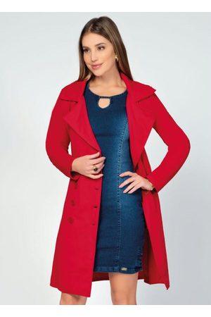 Quintess Mulher Trench Coat - Sobretudo Alongado com Faixa e Botões