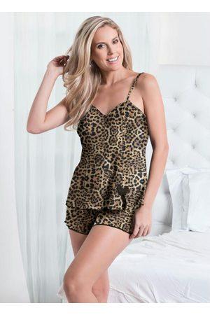 Alma Dolce Mulher Pijamas - Baby Doll Onça com Fenda Frontal