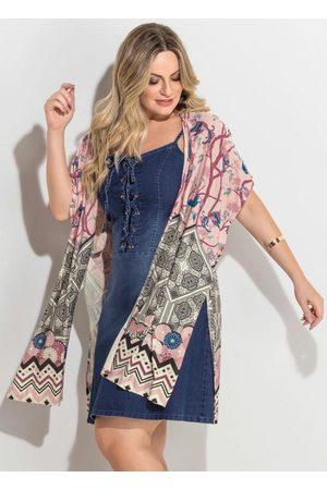 QUINTESS Kimono Barrado Rosê Fenda Plus Size