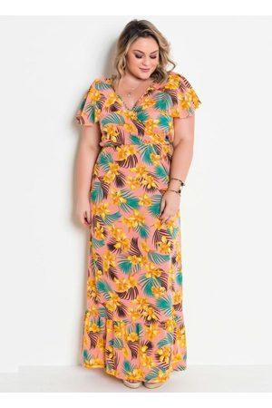 Marguerite Vestido Transpassado com Babado Floral Plus Size