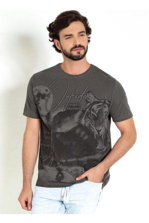 Actual Homem Camisolas de Manga Curta - Camiseta Chumbo com Frente Inteira Estampada