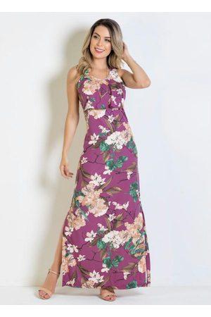 QUEIMA ESTOQUE Vestido Longo Floral com Detalhe de Babado