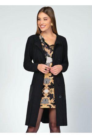 QUINTESS Mulher Trench Coat - Sobretudo com Gola e Bolsos