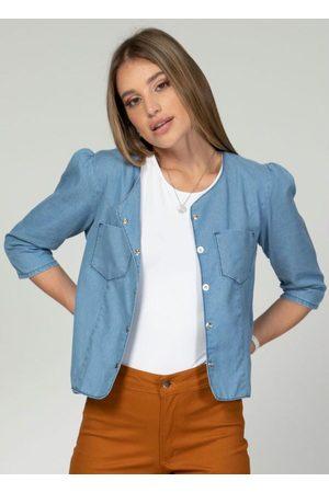 QUINTESS Mulher Jaqueta Jeans - Jaqueta com Franzido nos Ombros Jeans Claro