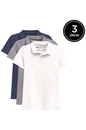 Basicamente Kit de 3 Camisas Polo Femininas de Várias Cores Br