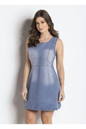 Janine Vestido Jeans sem Mangas Claro com Zíper