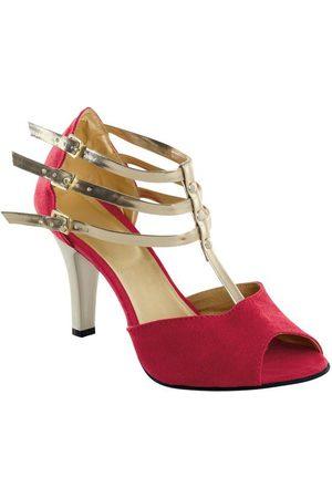 QUEIMA ESTOQUE Sandália Vermelha com Tiras Douradas