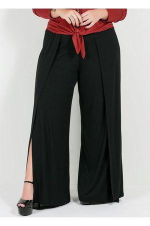 Mink Mulher Calça Pantalona - Calça Plus Size Pantalona Preta